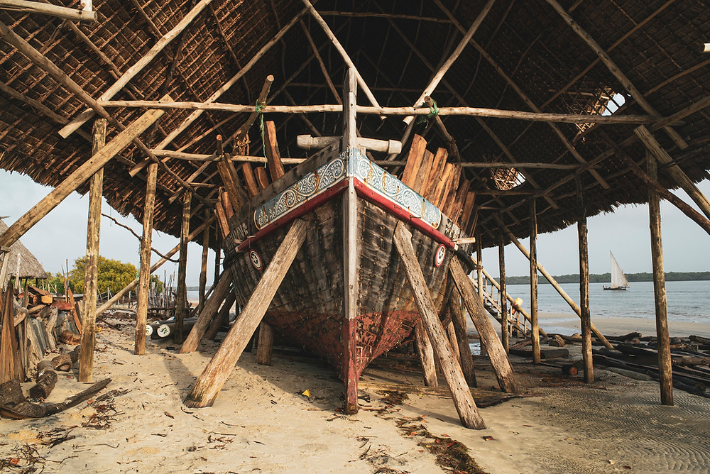 Utamaduni is a large dhow owned by Manda Bay. She's big enough to cross an ocean and is currently being restored here in Lamu.