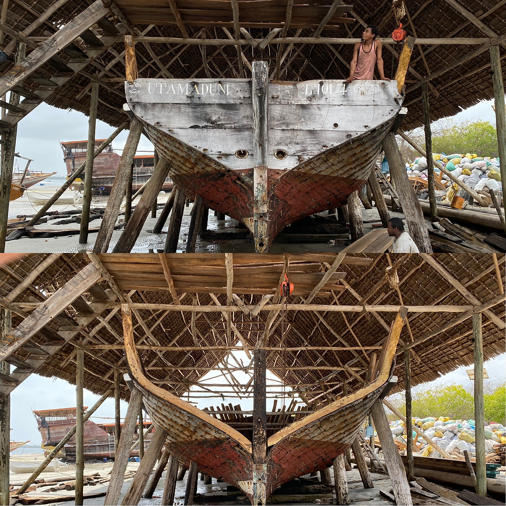 Utamaduni, an ocean going dhow, here in Lamu, Kenya is seen here from stern otherwise known as a turusi is seen on and then seen removed.