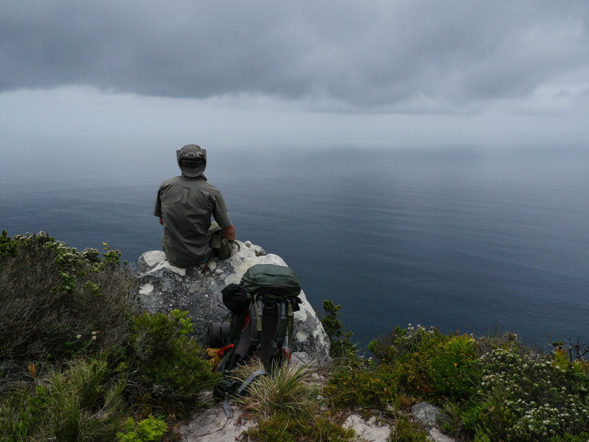 Daniel Snyders looking out to sea, overlooking false bay, from Cape Point South Africa