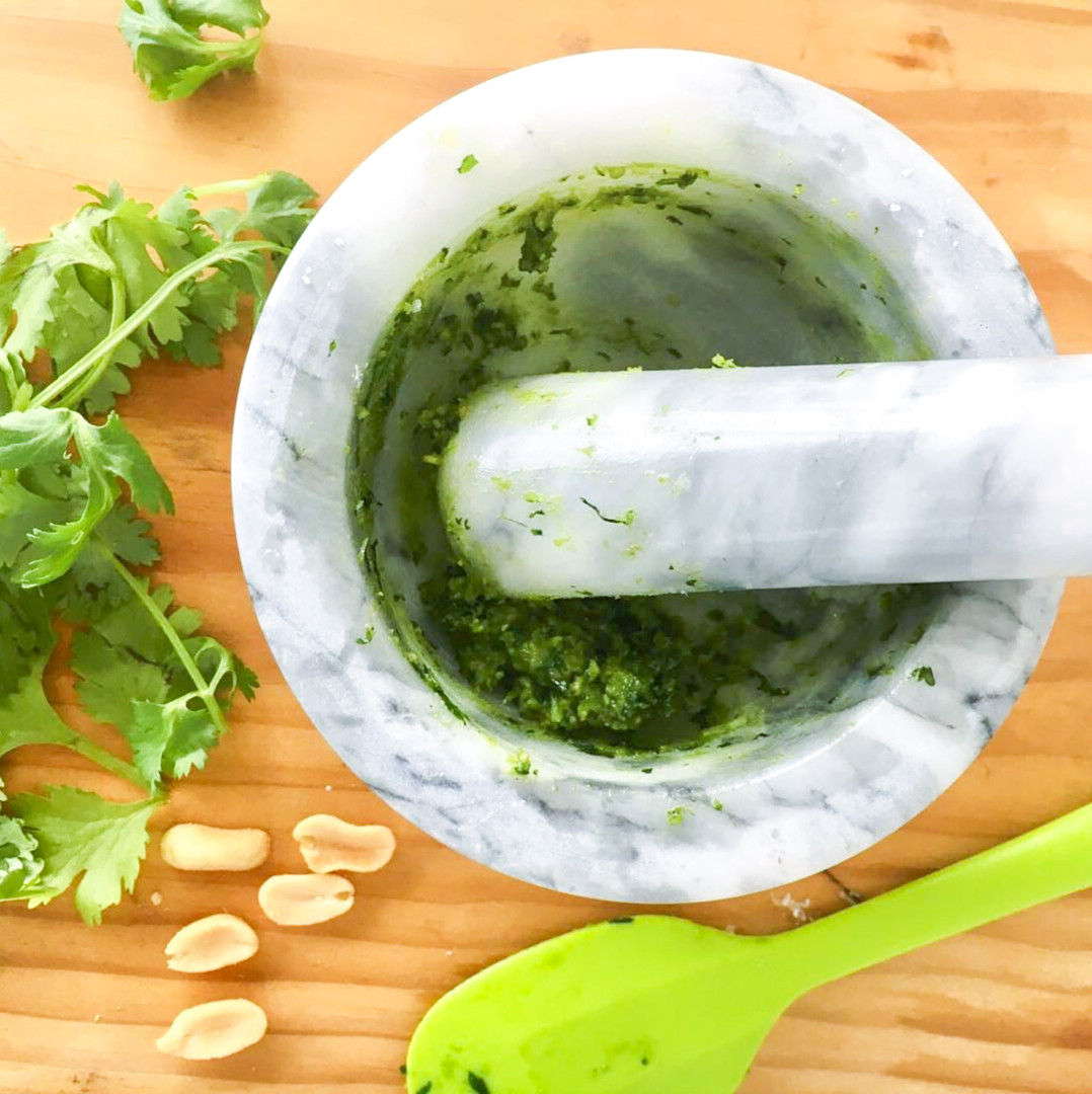 Basil Pesto in Mortar and Pestle