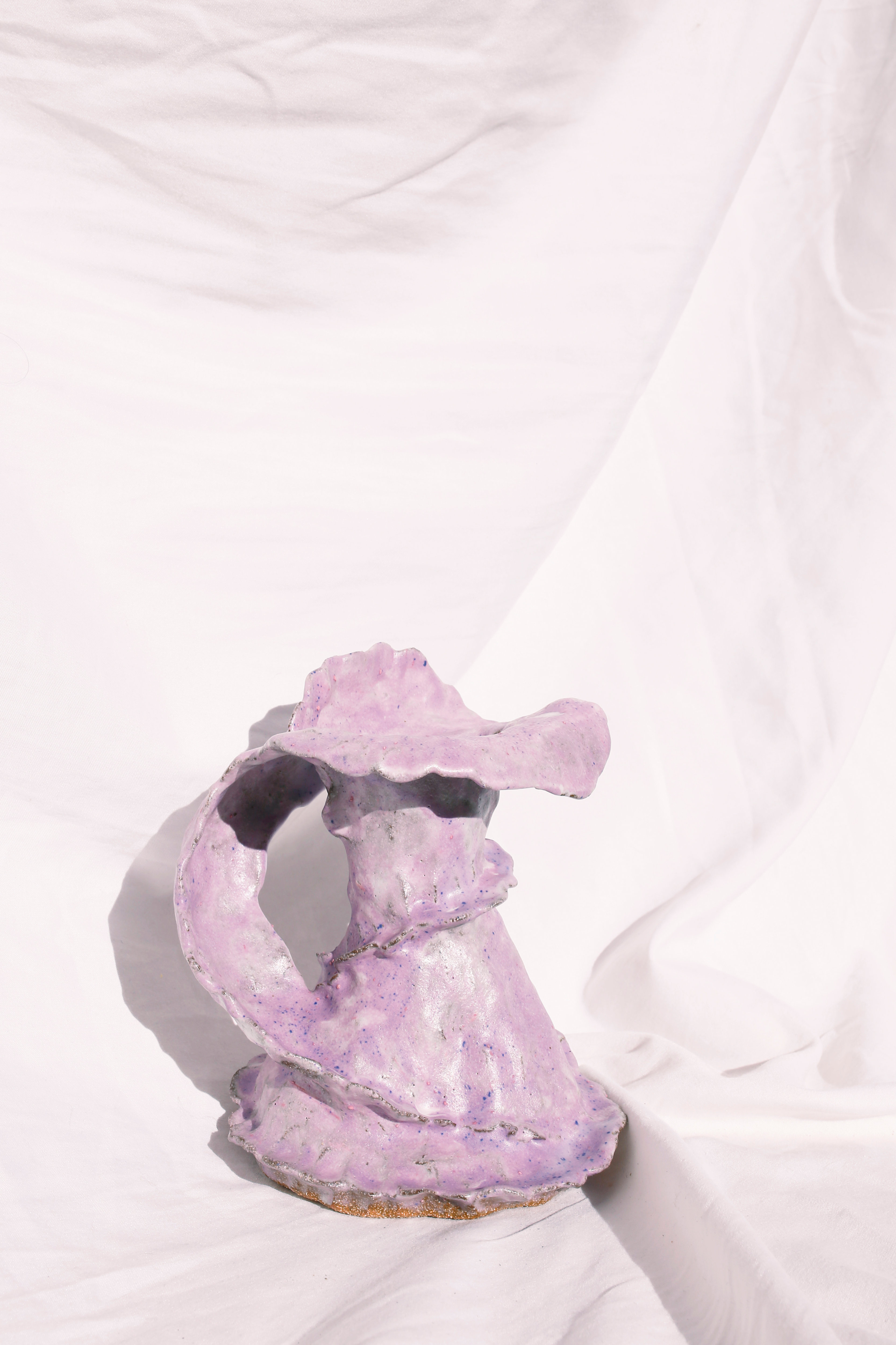 Raw purple lilac ceramic vase by Hilary Green custom made for Melbourne Floral artist xxflos