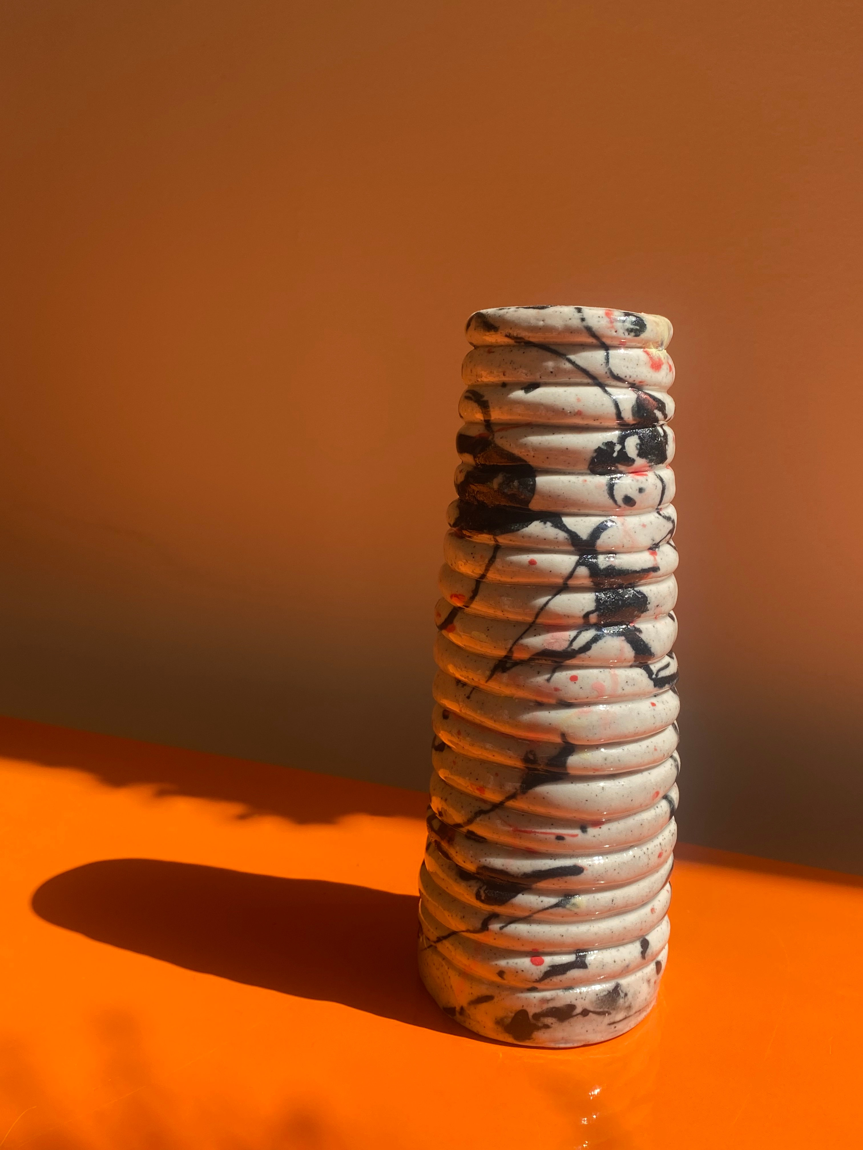Handmade ceramic paint splatter vase by Alysha Jenkins Ceramics for local Floral Artist xxflos