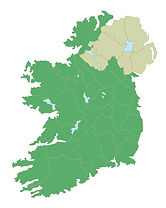 Ice Age Ireland county map blank CC WI t