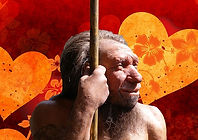 Ancient Love Neanderthal with yellow hea