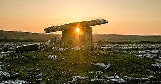Banner Poulnabrone dolmen The Burren CC