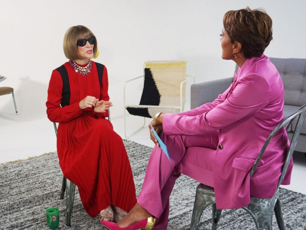Anna Wintour giving an interview with glasses on