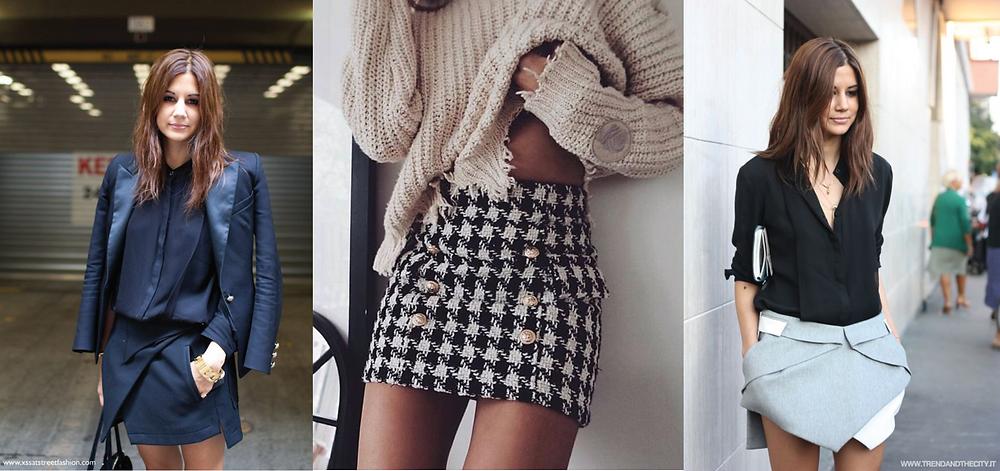Mini skirts, asymmetric skirts, tailored fashion, stylish skirts, mini skirt styles, fashion news, fashion