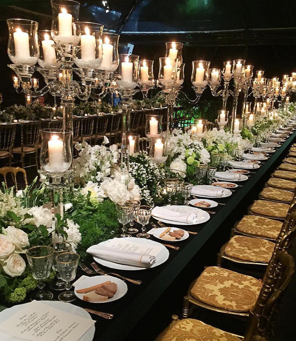 dark wedding table setting, wedding table elegant decor with candles