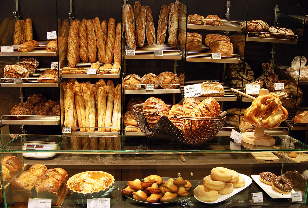 Parisian bakery, boulangerie full of bread