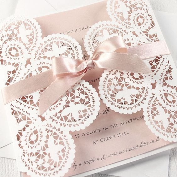 Bow tied pink lace invitation for dress codes