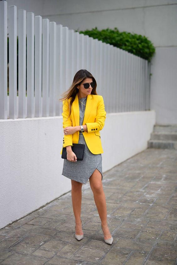 Business Casual fashion dress code, woman wearing yellow jacket and grey dress