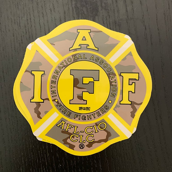 IAFF Sticker - Camo & Yellow