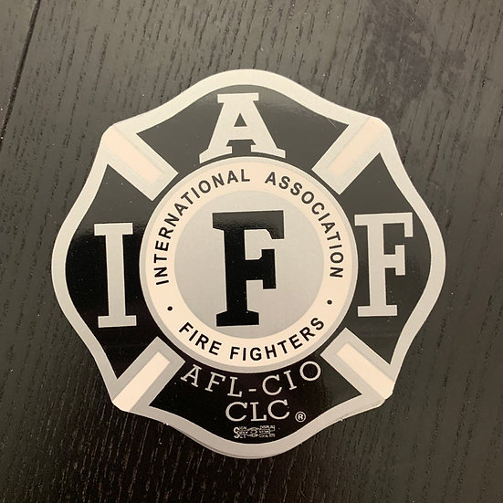 IAFF Sticker - Silver and Black