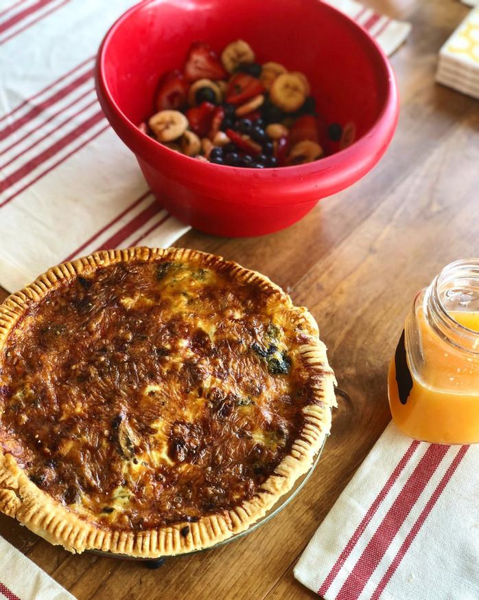 sausage, mushroom & spinach quiche