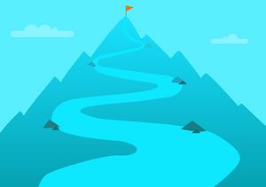 Chemin menant à au sommet d'une montagne ou il y'a un drapeau qui est l'objectif à atteindre