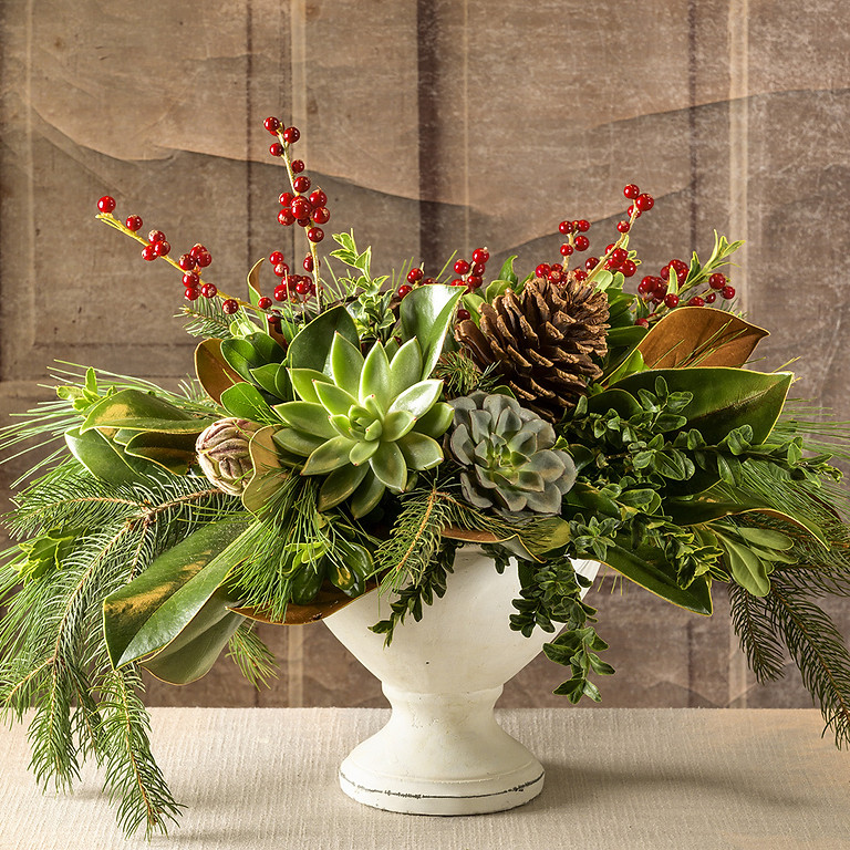 Public - Large Holiday Arrangement in a Footed Compote Vase