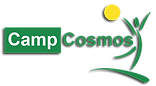 Camp Cosmos logo child leaping with sun