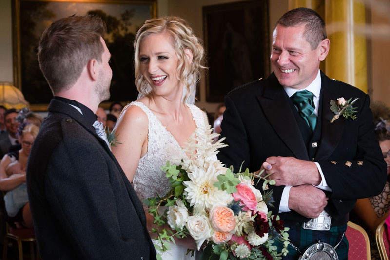 Bride and groom in Walcot Hall Main Hall