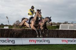 Horses jump the last