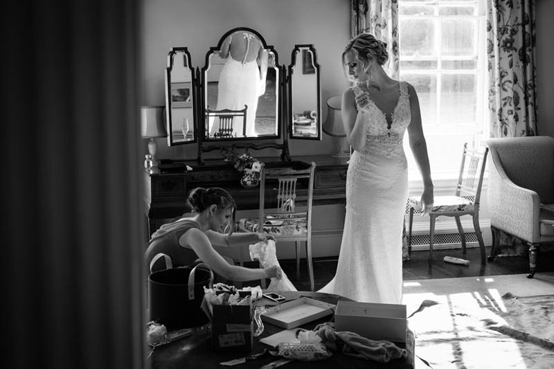 Bridal preparations in the bridal suite at Walcot Hall