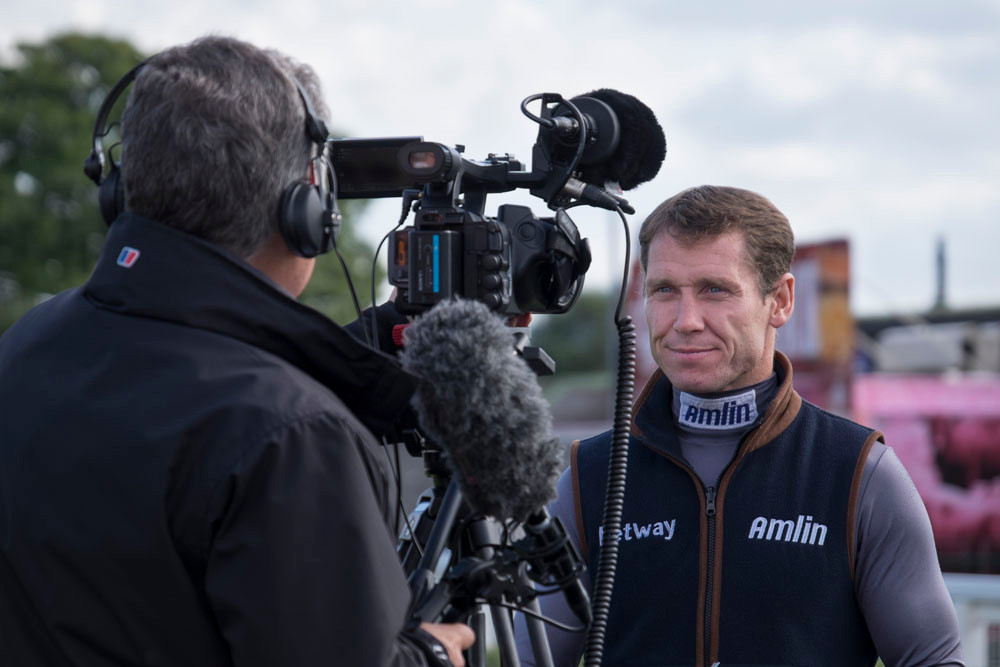 Richard Johnson being interviewed at Hereford Races