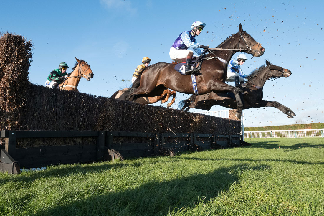 Horses take a fence at Hereford
