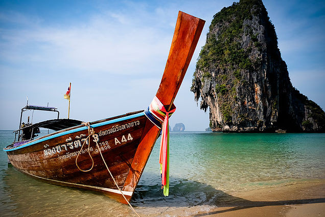 The iconic long tail boats at Koh Phi Phi