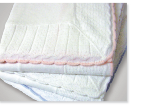 Cotton Jersey Blanket with Color Tipped Pointelle Border
