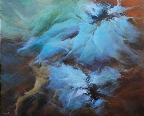 Anémones bleues - 100x81cm