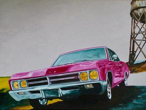 Des kilomètres de vie en rose (Buick GS) - 81x60cm