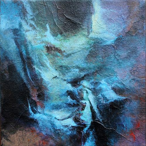 Petite traversée bleue - 20x20cm