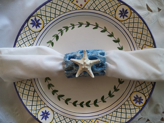 "Beach Cottage Starfish Napkin Rings ""Beach Blue"" 4"