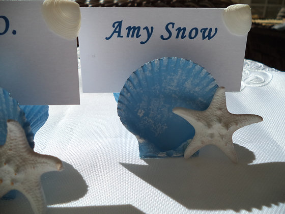 """Rustic """"Beach Blue"""" Place Card Holders (6)"""