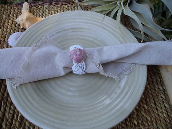 NEW! Shell Napkin Ring (4) Cotton rope weave with
