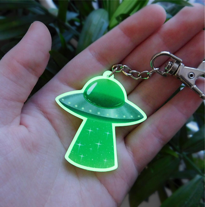Abduction - Glow-in-the-dark Acrylic Keyring