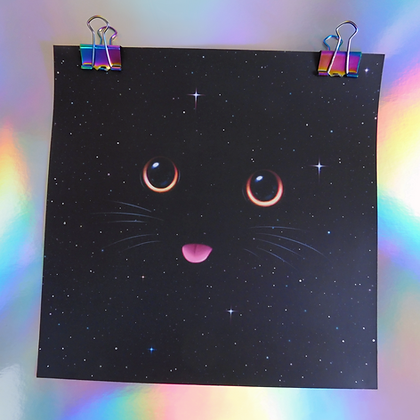 "Metallic Square Print of ""Blep"""