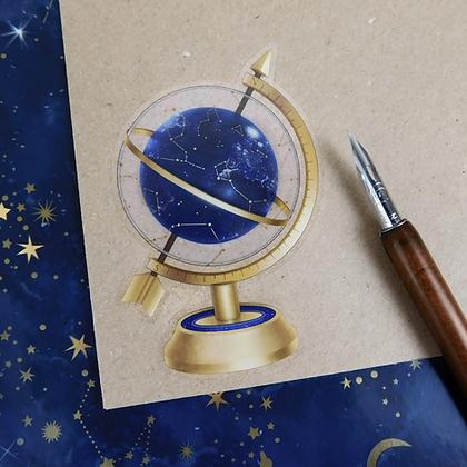 Celestial Globe - Transparent Vinyl Sticker