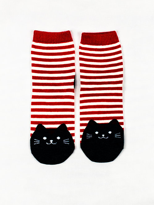 Fat Cat Socks - Candy Red front view