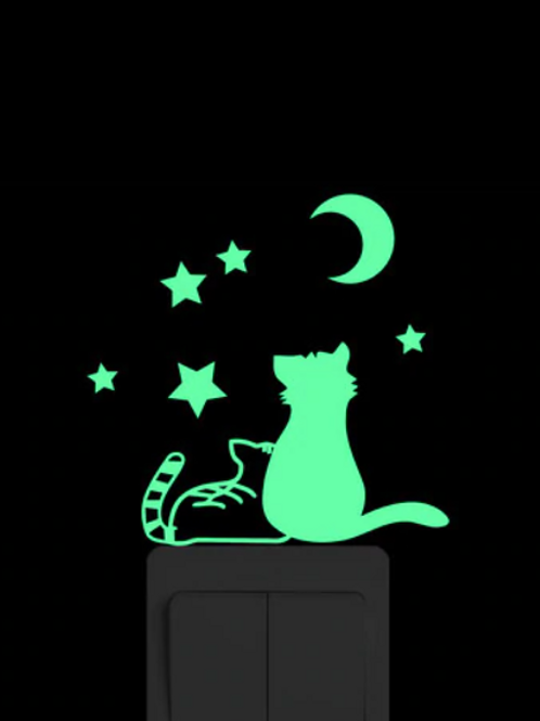 Star Gazing Cats Luminous Light Switch Sticker