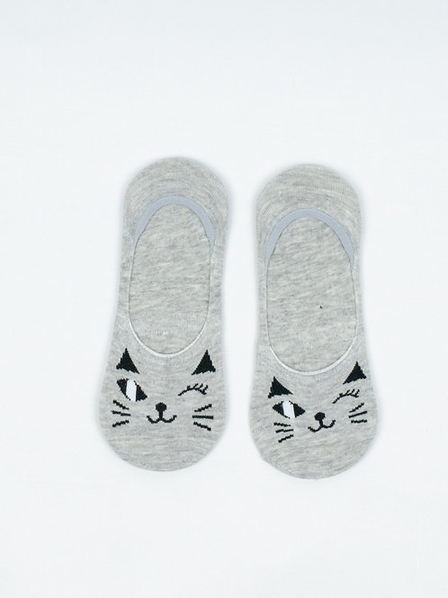 Winking Cat Liner Socks in Cool Grey front view