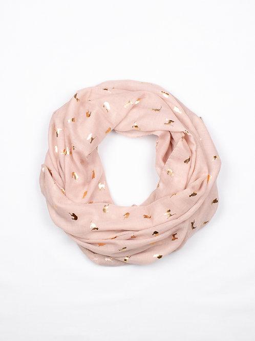 Metallic Cat Print Scarf - Pink and Gold, circle wrap