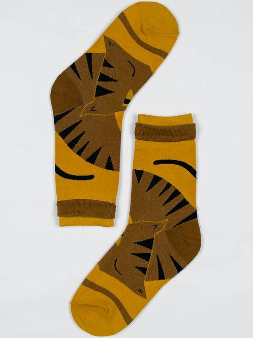 Artsy Cat Socks - Mustard