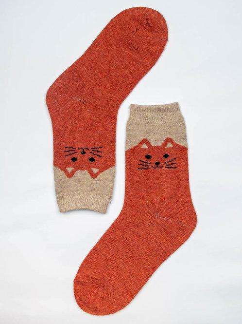 Happy Kitty Wool Socks - Orange