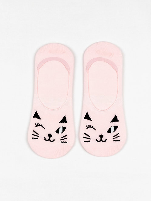 Winking Cat Liner Socks - Pretty Pink front view