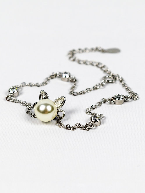 Sterling Silver and Pearl Cat Bracelet front view