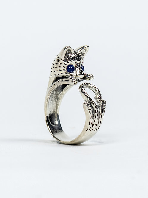 Sterling Silver Hippie Cat Retro Ring - Blue eyes side view