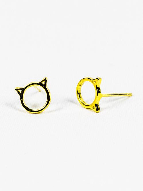 Cat Ears Earrings - Gold side view