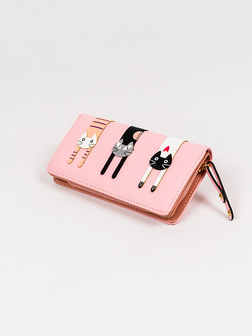 Three Cats Wallet - Pretty Pink, closed, front view