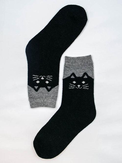 Happy Kitty Wool Socks - Black