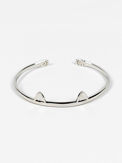Sterling Silver Cat Ears and Paws Bangle front view